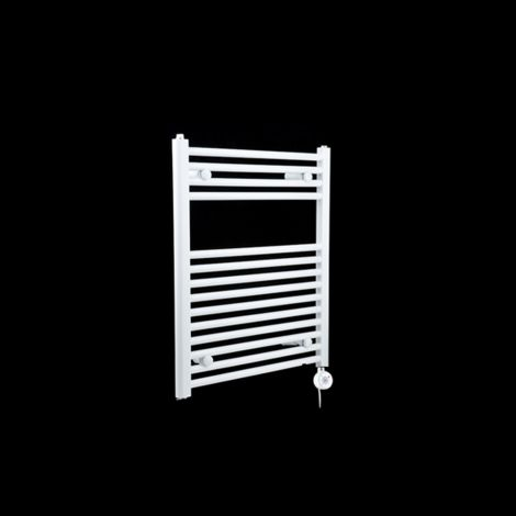 White Straight Ladder Thermostatic Electric Towel Rail 700mm high x 600mm wide