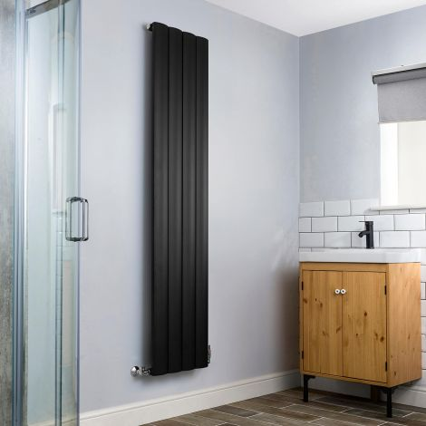 Aero Aluminium Black Heated Towel Rail - 1800mm high x 375mm wide