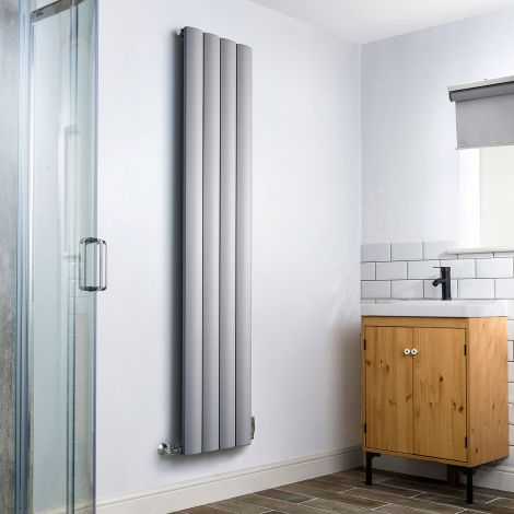 Aero Grey Heated Towel Rail 1800mm x 375mm - Without Towel Bar