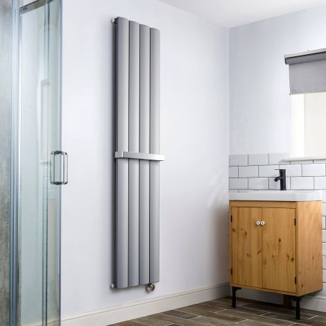Aero Grey Vertical Thermostatic Electric Towel Rail 1800mm x 375mm - With Towel Bar
