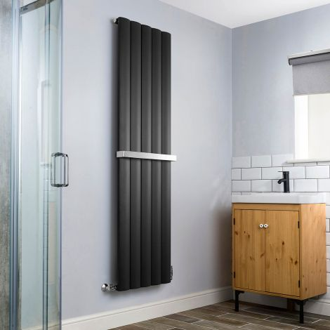 Aero Anthracite Heated Towel Rail 1800mm x 470mm - With Towel Bar,Aero Anthracite Heated Towel Rail 1800mm x 470mm - Without Towel Bar,Aero Anthracite Heated Towel Rail - Shoulder Close Up,Aero Anthracite Heated Towel Rail - Flow Valve Close Up,Aero Anthr