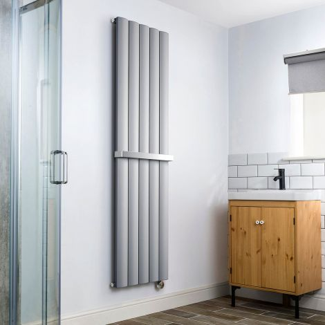 Aero Grey Vertical Thermostatic Electric Towel Rail 1800mm x 470mm - With Towel Bar,Aero Grey Vertical Thermostatic Electric Towel Rail 1800mm x 470mm - Without Towel Bar,Aero Grey Vertical Thermostatic Electric Towel Rail - Shoulder Close Up,Aero Grey Ve