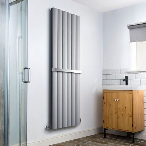 Aero Grey Heated Towel Rail - 1800mm x 565mm - With Towel Bar,Aero Grey Heated Towel Rail - 1800mm x 565mm - Without Towel Bar,Aero Grey Heated Towel Rail - Shoulder Close Up,Aero Grey Heated Towel Rail - Flow Valve Close Up,Aero Grey Heated Towel Rail -
