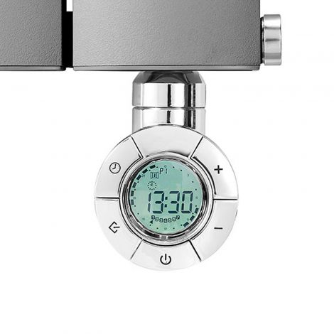 Geyser Dynamic Eco Design Chrome Thermostatic Heating Element for Radiators - Front Close Up Installed