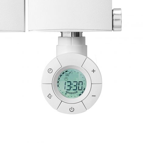 Geyser DYNAMIC Eco Design White Thermostatic Heating Element for Radiators - Front Close Up