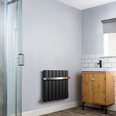 Aero Anthracite Heated Towel Rail 600mm x 660mm - With Towel Bar,Aero Anthracite Heated Towel Rail 600mm x 660mm - Without Towel Bar,Aero Anthracite Heated Towel Rail - Shoulder Close up,Aero Anthracite Heated Towel Rail - Flow Valve Close up,Aero Anthrac