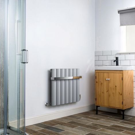 Aero Grey Heated Towel Rail 600mm x 660mm - With Rail