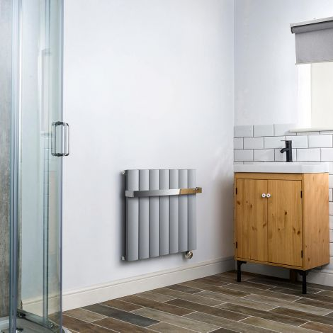 Aero Grey Thermostatic Electric Towel Rail 600mm x 660mm - With Towel Bar,Aero Grey Thermostatic Electric Towel Rail 600mm x 660mm - Without Towel Bar,Aero Grey Thermostatic Electric Towel Rail - Shoulder Close Up,Aero Grey Thermostatic Electric Towel Rai