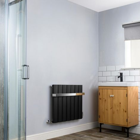 Aero Black Heated Towel Rail 600mm x 660mm - With Towel Rail