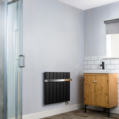 Aero Black Thermostatic Electric Towel Rail 600mm x 660mm - With Towel Bar