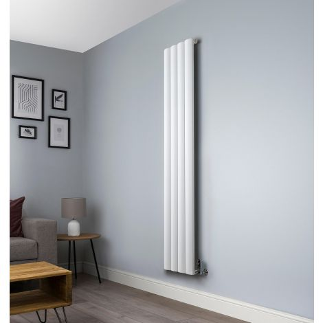 Aero White Vertical Tall Skinny Designer Radiator - 1800mm high x 375mm wide