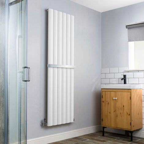 Aero Aluminium White Heated Towel Rail 1800x565 - With Towel Bar
