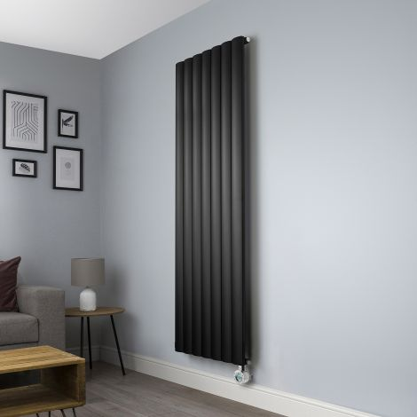 Aero Black Ecodesign Vertical Electric Radiator - 1800mm high x 660mm wide