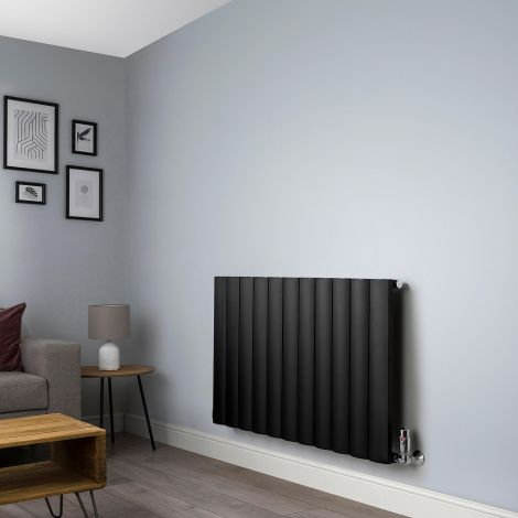 Aero Black Horizontal Designer Radiator - 600mm high x 1040mm wide