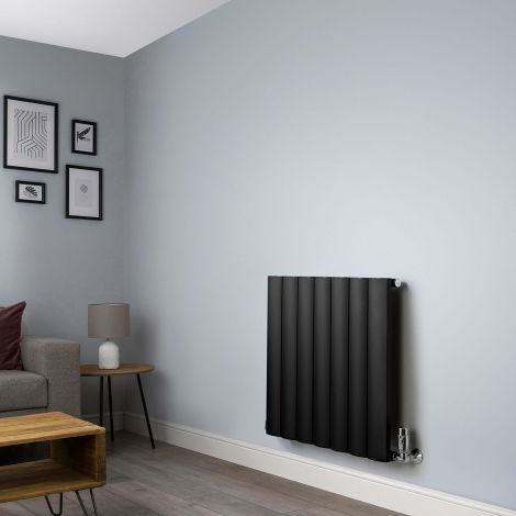 Aero Black Space Saving Horizontal Designer Radiator - 600mm high x 660mm wide
