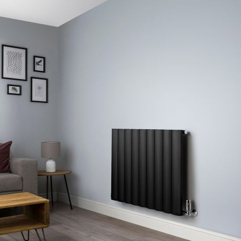 Aero Black Horizontal Designer Radiator - 600mm high x 850mm wide