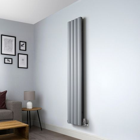 Aero Grey Vertical Designer Radiator - 1800mm x 375mm,Aero Grey Vertical Designer Radiator - Shoulder Close Up,Aero Grey Vertical Designer Radiator -Flow Valve Close Up,Aero Grey Vertical Designer Radiator - Return Close Up