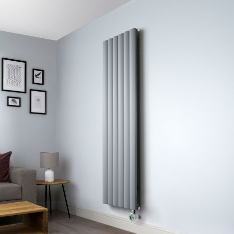 Aero Grey Vertical Electric Radiator - 1800mm high x 565mm wide