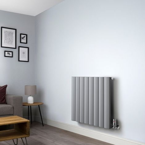 Aero Grey Horizontal Designer Radiator - 600mm x 660mm,Aero Grey Horizontal Designer Radiator - Shoulder Close Up,Aero Grey Horizontal Designer Radiator - Flow Valve Close Up,Aero Grey Horizontal Designer Radiator - Return Valve Close Up