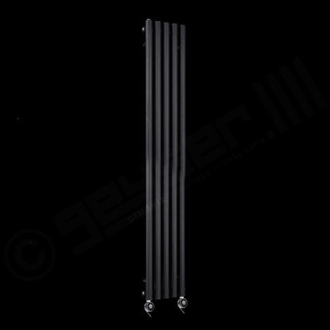 Circolo Tall Ultra Thin Black Electric Radiator 1800mm high x 260mm wide