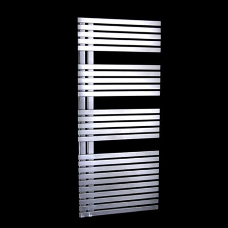 EX-DISPLAY Copra Brushed Stainless Steel Floating Open Side Designer Heated Towel Rail 1200mm high x 500mm wide
