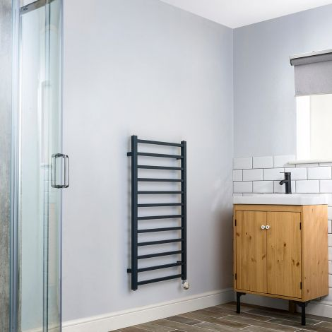Cube Anthracite Ladder Thermostatic Electric Towel Rail - 1000mm high x 500mm wide