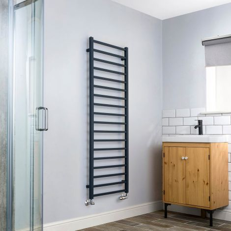 Cube Anthracite Ladder Heated Towel Rail - 1500mm high x 500mm wide