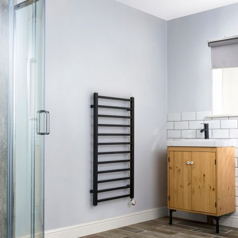 Cube Black Dynamic Ladder Heated Towel Rail - 1000mm high x 500mm wide