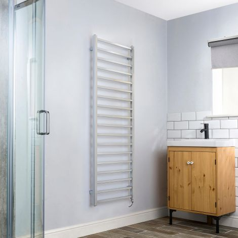 Cube Chrome Square Bars Tall Ladder Electric Towel Rail - 1500mm high x 500mm wide