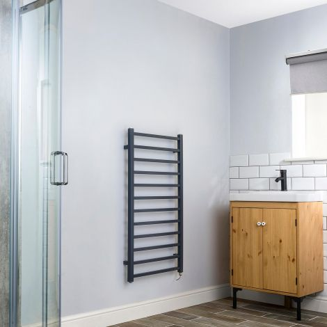 Cube Dark Grey Square Bars Ladder Electric Towel Rail - 1000mm high x 500mm wide,Small Image,Thumbnail Image