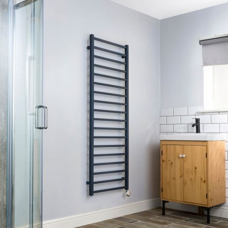 Cube Dark Grey Square Bars Tall Ladder Thermostatic Electric Towel Rail - 1500mm high x 500mm wide,Small Image,Thumbnail Image