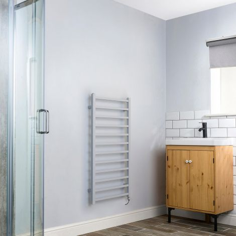 Cube Light Grey Square Bars Ladder Electric Towel Rail - 1000mm high x 500mm wide,Small Image,Thumbnail Image