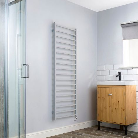 Cube Light Grey Square Bars Ladder Tall Electric Towel Rail - 1500mm high x 500mm wide,Small Image,Thumbnail Image