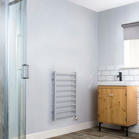 Cube Light Grey Short Thermostatic Electric Towel Rail - 800mm high x 500mm wide