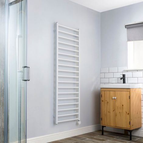 Cube White Thermostatic Electric Towel Rail - 1500mm high x 500mm wide