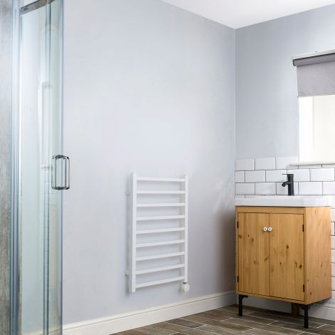 Cube White Thermostatic Electric Towel Rail - 800mm high x 500mm wide