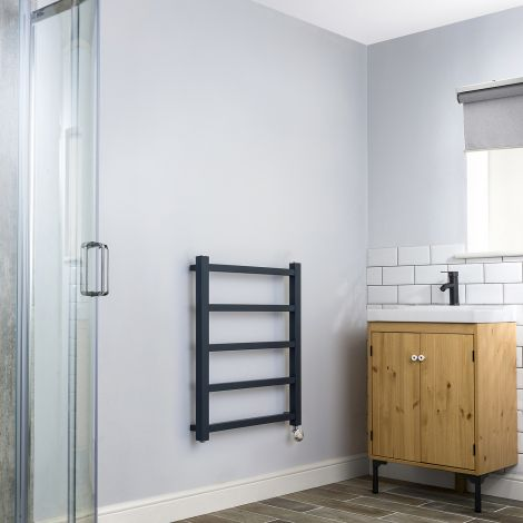 Cube PLUS Anthracite Thermostatic Electric Towel Rail - 750mm high x 600mm wide