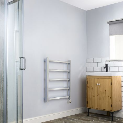 Cube PLUS Chrome Thermostatic Electric Towel Rail - 750mm high x 600mm wide