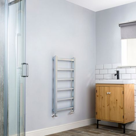 Cube PLUS Chrome Heated Towel Rail - 900mm high x 450mm wide
