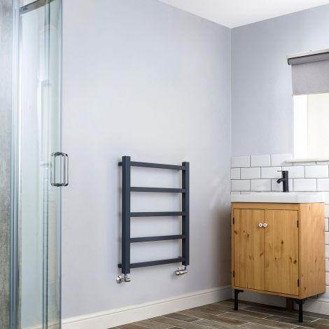 Cube PLUS Dark Grey Heated Towel Rail - 750mm x 600mm