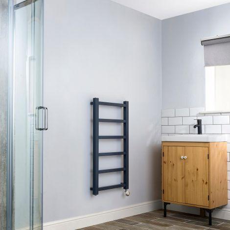 Cube PLUS Dark Grey Thermostatic Towel Rail - 900mm x 450mm