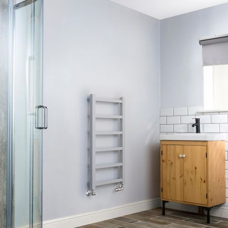 Cube PLUS Light Grey Square Bars Slim Heated Towel Rail - 900mm high x 450mm wide