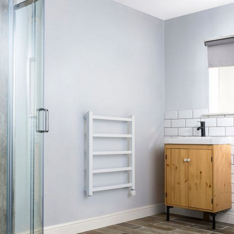 Cube PLUS White Square Bars Space Saving Thermostatic Electric Towel Rail - 750mm high x 600mm wide,Thumbnail Image,Small Image,Thumbnail Image