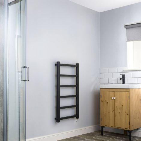 Cube PLUS Black Square Bars Slim Electric Towel Rail - 900mm high x 450mm wide,Thumbnail Image,Small Image,Thumbnail Image