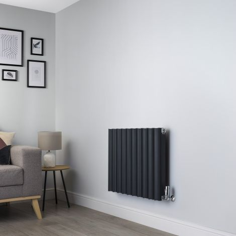 Venn Anthracite Horizontal Designer Radiator - 600mm high x 800mm wide