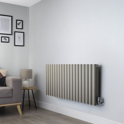 Venn Champagne Gold Horizontal High Output Designer Radiator - 600mm high x 1440mm wide