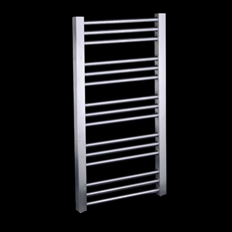 EX-DISPLAY Jenith Brushed Stainless Steel Slim Heated Towel Rail 1000mm high x 480mm wide