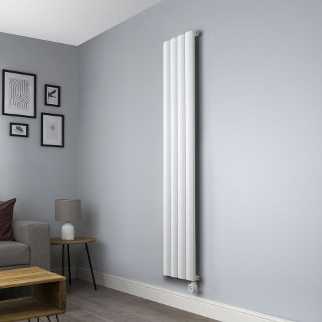 Aero White Ecodesign Vertical Skinny Electric Radiator - 1800mm high x 375mm wide