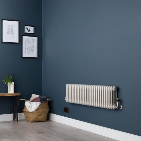 Old Style Horizontal Three Column White Hammered Gold Low Level Traditional Radiator - 300mm high x 1194mm wide