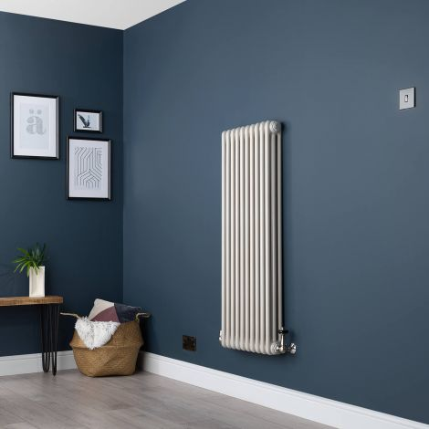 Old Style Vertical Three Column White Hammered Gold Traditional Radiator - 1200mm high x 474mm wide